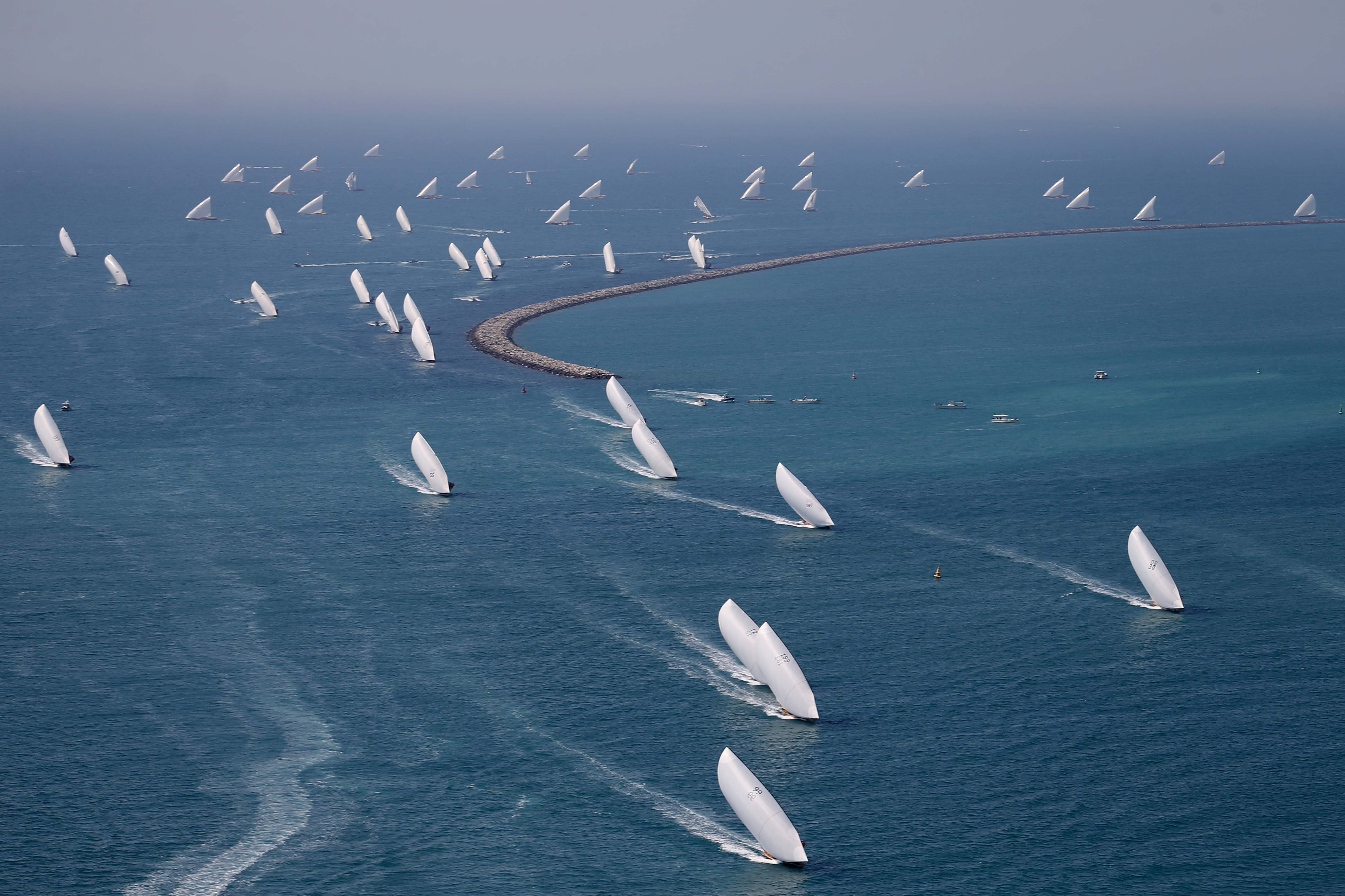 80 boats for the first round of 60ft Dhow Race today