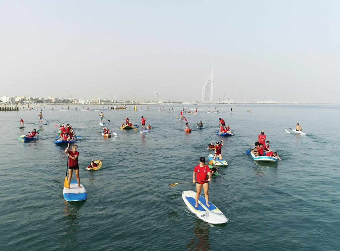Stand Up Paddling in front of Burj Khalifa on Friday
