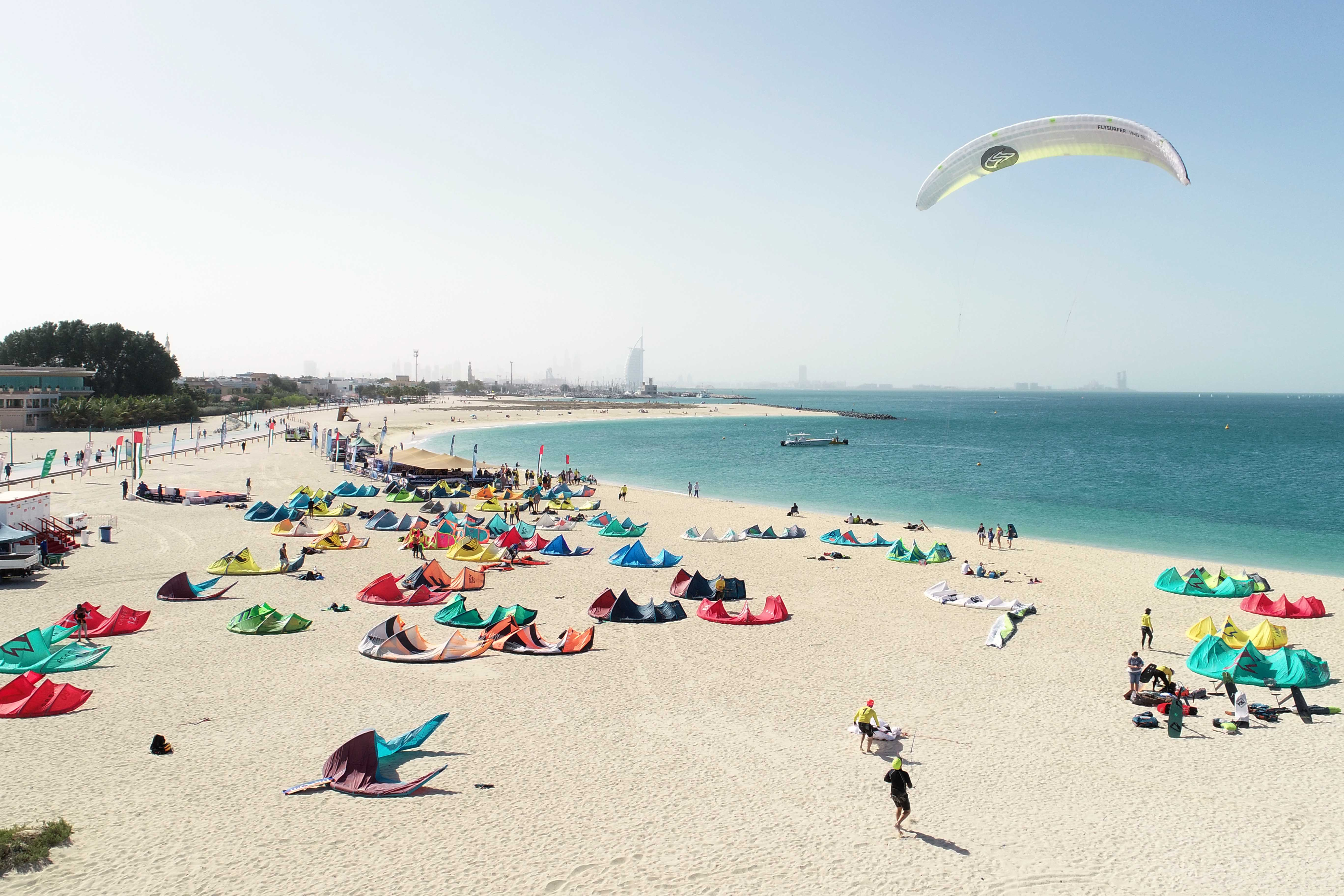 The conclusion of the first round of the Dubai Kitesurf Open today