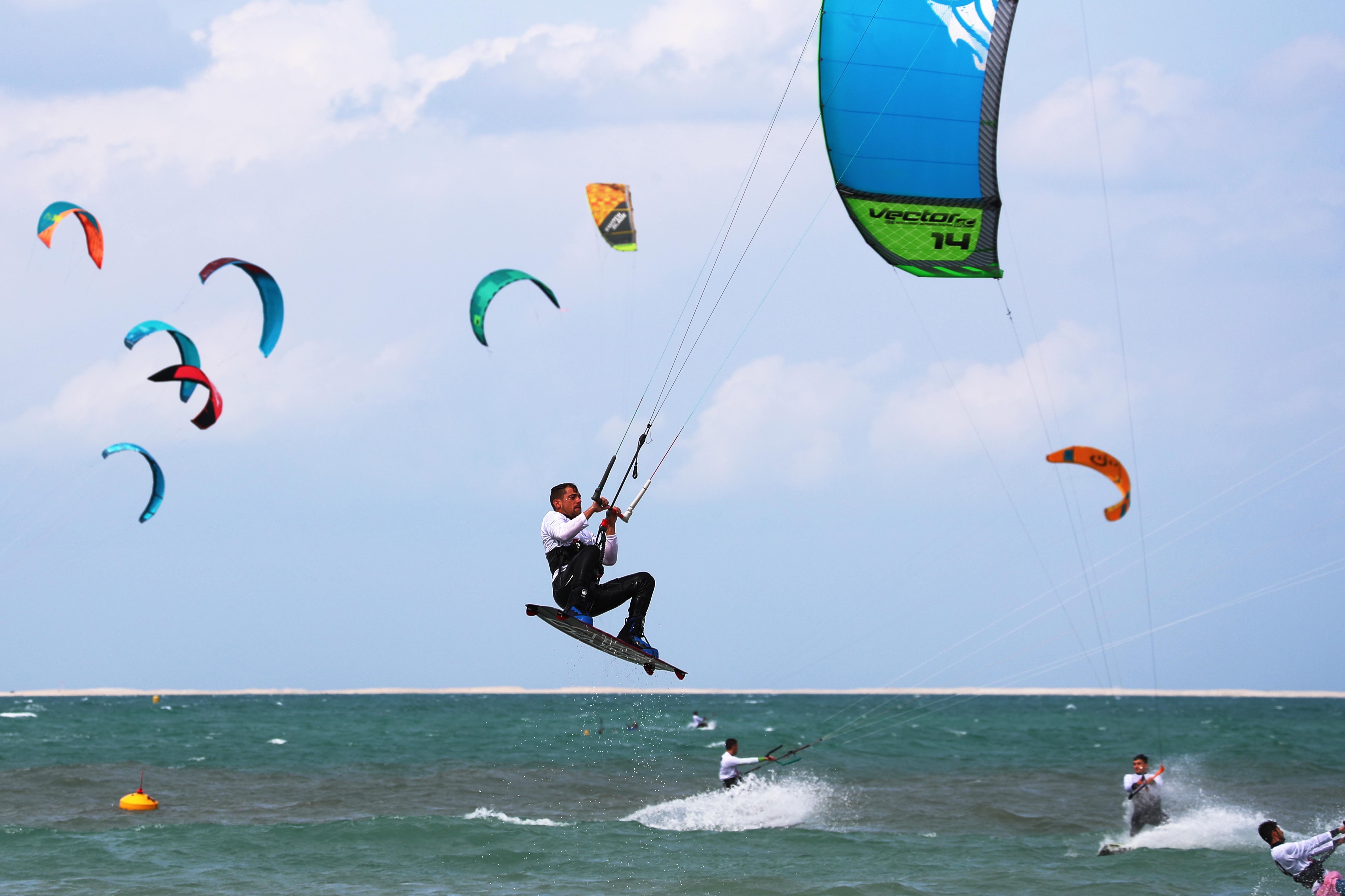 Nessnass Beach host the first ride of the Kitesurfing