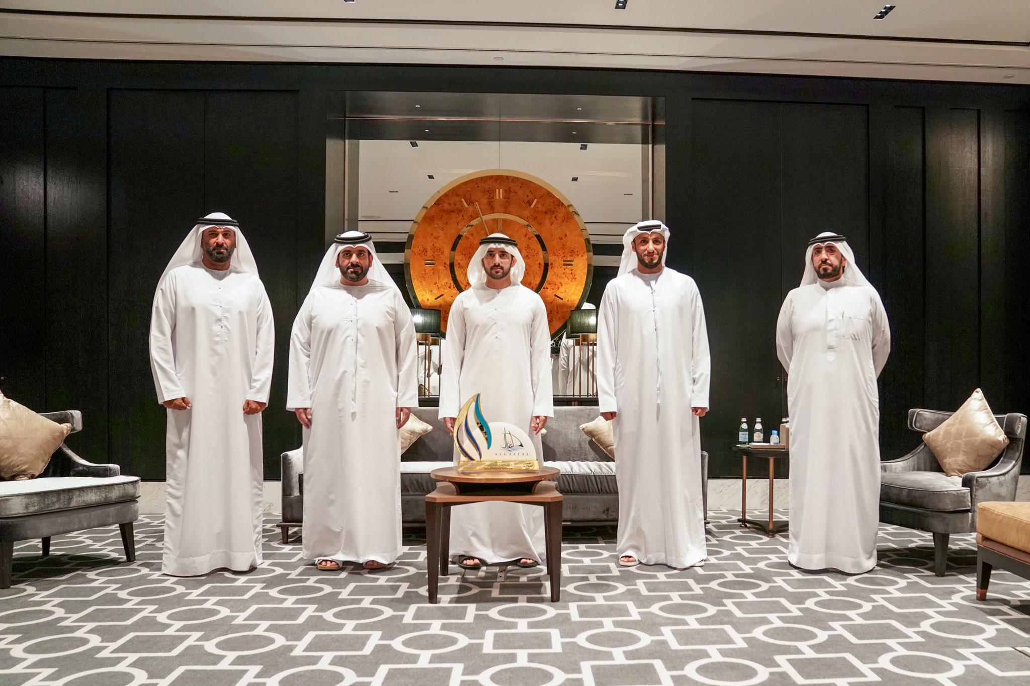 Hamdan bin Mohammed congratulates Board of Dubai International Marine Club on successful organisation of Al Gaffal traditional dhow race