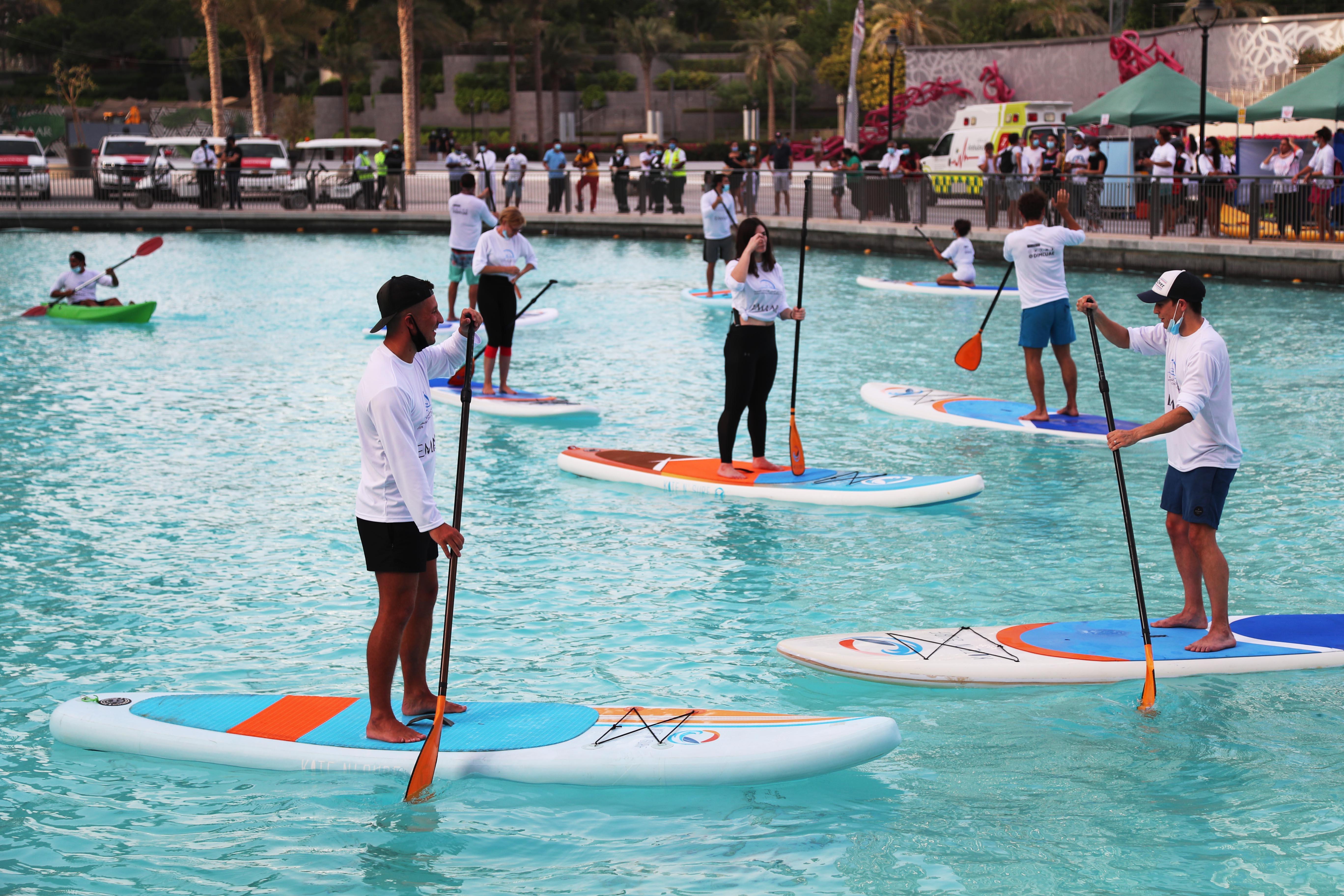 Standup Paddling Race at Hatta Dam Lake Today